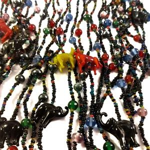 Vintage Beaded Statement Necklace & Earrings